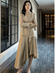 Brand Fashion Tailored Collar Jacket with Flouncing Long Skirt