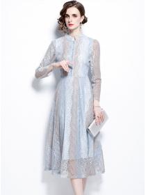 Autumn Fashion High Waist Lace Flowers A-line Long Dress