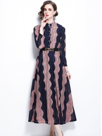 Europe Stylish Belt Waist Color Block Lace Maxi Dress