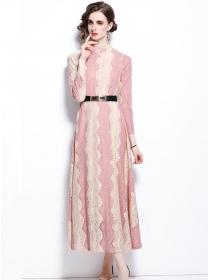 Charming Fashion Lace Flowers Color Block A-line Long Dress