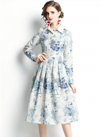 Wholesale Europe Flowers Shirt Collar Pleated A-line Dress