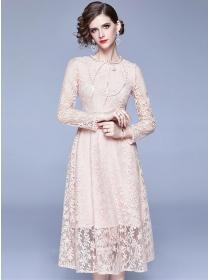 Grace Women High Waist Lace Flowers Long Sleeve Dress