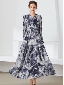 Retro Europe V-neck High Waist Ink Flowers Maxi Dress