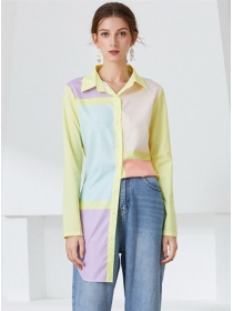 Preppy Fashion Color Block Shirt Collar Slim Long Blouse