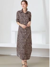Street Fashion Shirt Collar Leopard Loosen Maxi Dress
