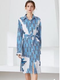 Autumn New Stripes Tie Waist Shirt Collar Loosen Dress