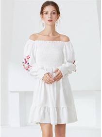 Sexy Charming Stretchable Boat Neck Puff Sleeve A-line Dress