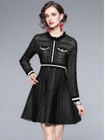 Autumn New High Waist Stripes Knitting Long Sleeve Dress