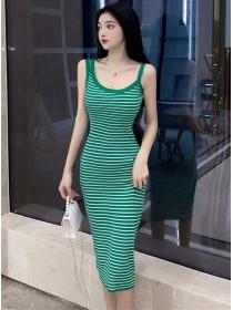 Wholesale Stylish Stripes Slim Straps Knitting Long Dress