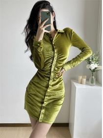 Retro Sexy Single-breasted Slim Velvet Shirt Dress