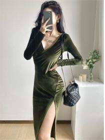 Modern Sexy V-neck Split Velvet Bodycon Long Sleeve Dress