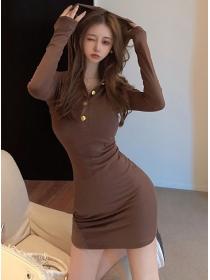 Wholesale Autumn V-neck Hooded Slim Cotton Dress