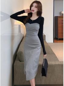 Autumn Fashion Round Neck Splicing Plaids Slim Dress