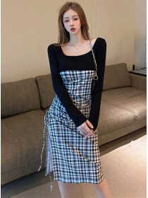 Korea Wholesale Draw-string Pleated Plaids Splicing Long Dress