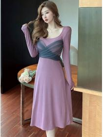 Wholesale Korea Gauze Tie Waist Cotton A-line Dress