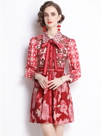 Vogue Lady Bowknot Doll Collar Flowers Long Sleeve Dress