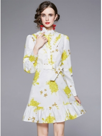 Autumn Fashion Stand Collar Tie Waist Flowers A-line Dress