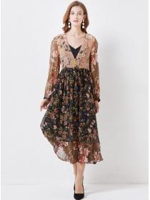 Europe Stylish V-neck Flowers Chiffon Maxi Dress