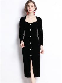 Modern OL Square Collar Bodycon Velvet Split Long Dress