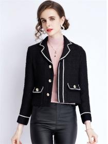 Autumn New Color Block Tailored Collar Short Woolen Coat