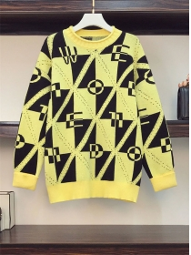 Wholesale Plus Size Letters Plaids Causal Sweater Pullovers