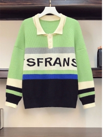 Preppy Plus Size Color Block Shirt Collar Casual Sweaters