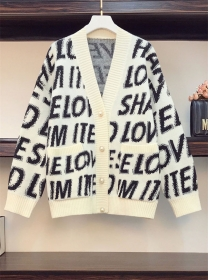 Casual Plus Fashion Buttons V-neck Letters Sweater Coat