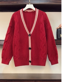 Retro Plus Size Stripes Buttons V-neck Twisted Sweater Coat