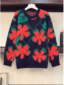 Wholesale Plus 2 Colors Flowers Embroidery Sweater Pullovers