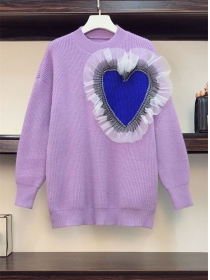 Stylish Plus Size Gauze Heart Patches Sweater Pullovers