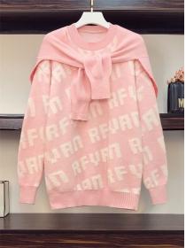 Autumn Plus Size Tie Shoulder Letters Sweater Pullovers