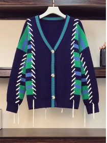 Plus Size Fashion Buttons V-neck Ties Stripes Sweater