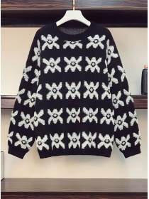 Autumn Wholesale Flowers Plus Size Casual Sweater Pullovers