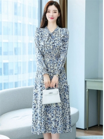 Pretty Grace Elastic Waist Tie Collar Flowers Chiffon Dress