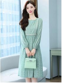 Pretty Wholesale 2 Colors Tie Waist Flowers A-line Dress