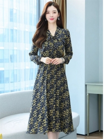 Fashion Women Tie Collar Elastic Waist Flowers Chiffon Dress