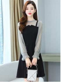Korea OL Fashion Chiffon Long Sleeve Splicing A-line Dress