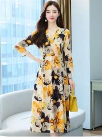 Retro Fashion High Waist V-neck Flowers Chiffon Long Dress