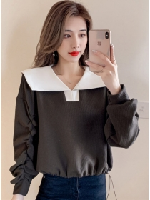 Preppy Fashion 2 Colors Doll Collar Pleated Long Sleeve T-shirt