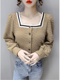 Autumn New 3 Colors Square Collar Puff Sleeve Tops