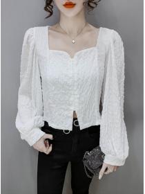 Wholesale Korea Square Collar Single-breasted Puff Sleeve Blouse