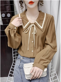 Retro Wholesale 2 Colors Doll Collar Puff Sleeve Blouse