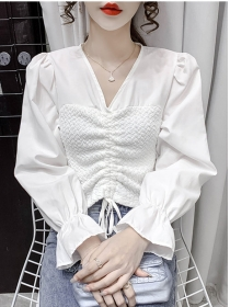 Autumn New 3 Colors Draw-string V-neck Puff Sleeve Blouse