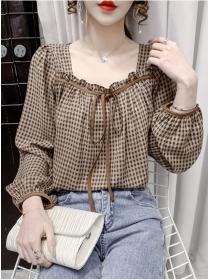 Classic Fashion Square Collar Plaids Puff Sleeve Blouse