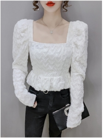 Fashion Women 2 Colors Square Collar Puff Sleeve Lace Tops