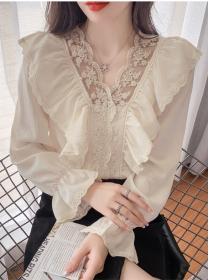 Retro Charming 2 Colors V-neck Flouncing Lace Blouse