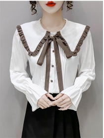 Preppy Fashion 2 Colors Tie Doll Collar Puff Sleeve Blouse