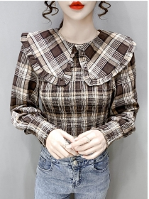 Classic Fashion 2 Colors Doll Collar Pleated Plaids Blouse