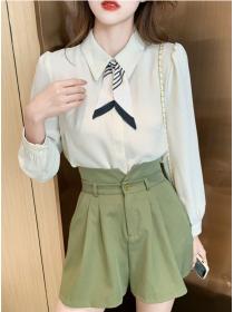 Preppy OL Tie Collar Chiffon Long Sleeve Blouse