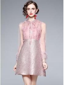 Charming Grace Gauze Splicing Beads Puff Sleeve A-line Dress